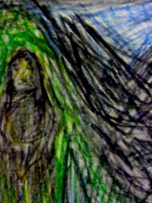 Crayon image of woman beside black water.