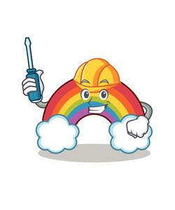 A cartoon rainbow with a face, hard-hat and screwdriver.